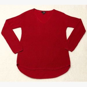 ANA Knit Pullover Sweater V Neck 100% Cotton Red